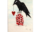 Original ACEO, Raven Bird, Holding red heart, one of a kind, mixed media, collage, miniature art, Bird illustration, Black, Red, White, uk