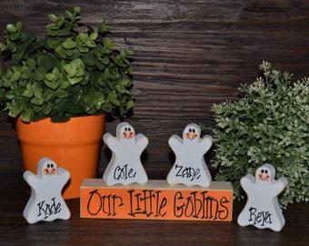 Halloween Block Set-Personalized Wood Block Love Set - home decor primitive block gift holiday wood sign Personalized Halloween Decor