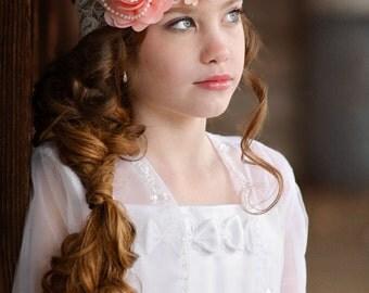 Peach Flower Headband, Ivory Lace Headband, Flower Girl Headband, Pearl Lace Headband, Newborn Photo Prop, Adult Headband, Teen Headband