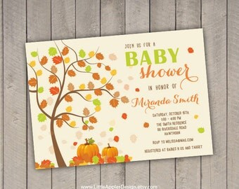 fall baby shower invitation / autumn baby shower / autumn baby shower invitation / fall baby boy shower invitation / autumn baby shower