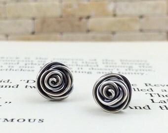 Rosebud Earrings. Sterling Silver Wire Wrapped Post Earrings. Recycled Silver Stud Earrings. Wire wrapped Rosebud Earrings.