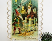 Christmas Elves Greeting Card, Holiday Elves Vintage Postcard, Shabby Christmas Decor