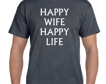 Groom Gift from Bride Grooms Gift for Groom from Bride Wife to Husband Gift Wedding Gift Valentines Day Happy Wife Happy Life Funny tshirt