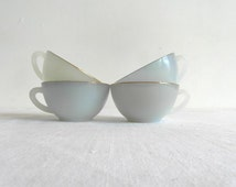 Arcopal, harlequin, 4 cups. Pastel blue & green, glass lusterware. French vintage cups.