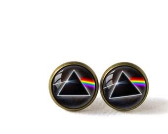 Retro Style Handmade Glass Dome Stud Earrings, Pink Floyd, A-313