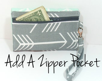 Add Zipper Pocket to your Clutch or Wristlet Bag
