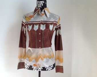 Brown Sheer Polyester Button-down Blouse with Arrow Motif - Medium