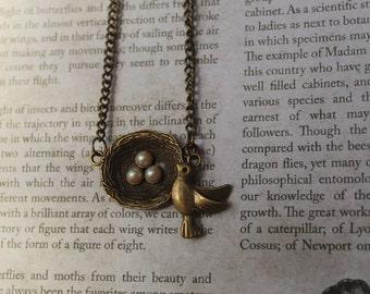 Love's Nest. Bronze Birds-Nest Necklace.