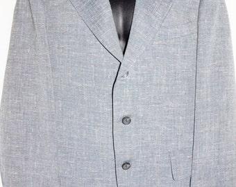1970s Mens Gray Wool Suit 44Chest Vintage Hippie Retro