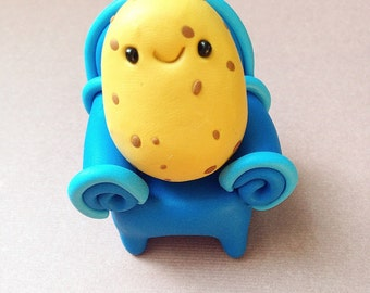 Miniature Couch Potato, Cute Little Polymer Clay - Veggie Figurine Kawaii Style