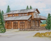 Custom House Portrait Colorado Cabin Mountain Cabin Mountain Vacation home
