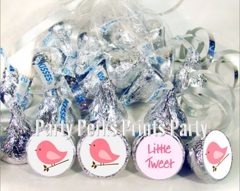 Little Tweet Pink Birds Baby Shower Favors Stickers fits Kisses Candy, Birdy Party Favors