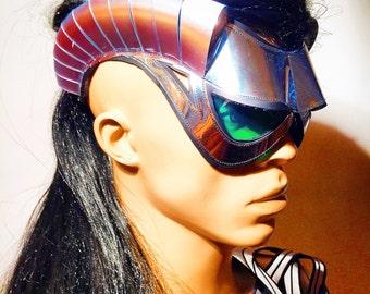 cyborg goggles with horns and green glasses burningman , futuristic, sci fi, cyber eyewear, mask, goggles,baphomet mask