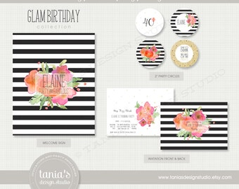 Glam 40th Printable Birthday Party Package by tania's design studio