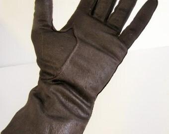 Vintage Women's Brown  Short Cloth Gloves