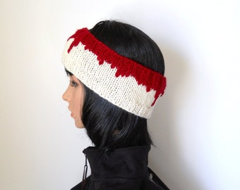 Head Wound Headband, Zombie Apocalypse Earwarmer in Blood Red and Ivory, Halloween Costume or Zombie Costume, Bloody Bandage Headwrap