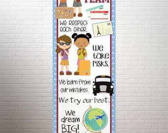 TRAVEL theme - Character Education Classroom Banner / X-Large / In Our Class