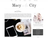 Macy Blogger Template - Blogspot Template - Feminine Blogger - Grey Black White Lifestyle Fashion