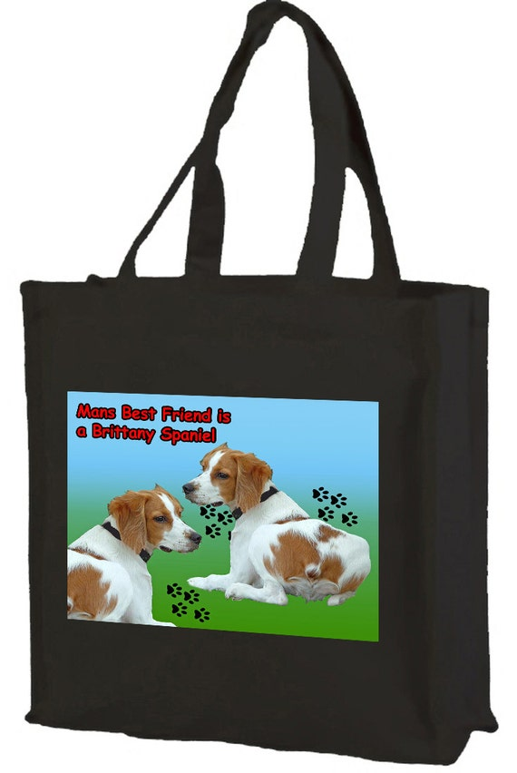 Brittany Spaniel Cotton Shopping Bag with gusset and long handles, 3 colour options