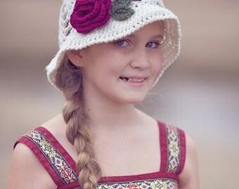 Crochet Floral Brim Hat