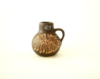 Silberdistel handled vase 336 starburst glaze pattern West Germany 1970's
