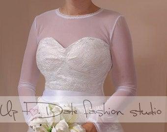 Bridal bolero /jacket /T-shirt bolero made of stretchable tulle with  length sleeve  wedding  gown