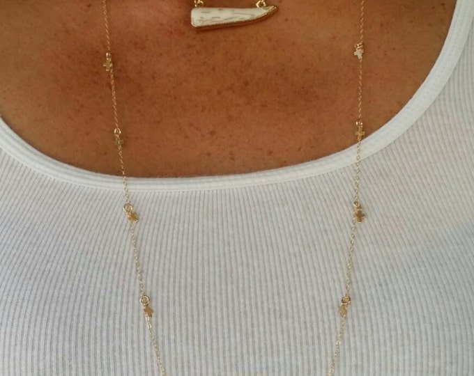 Statement Necklace, Horn Necklace, 14K Gold Edge, Howlite Necklace, Gold Fill Chain