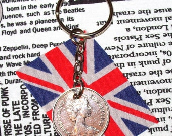 1979 British Old Large Five Pence Coin Keyring Key Chain Fob Queen Elizabeth II
