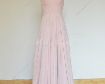 Simple blush pink prom dress, bridesmaid dress with sweetheart neckline