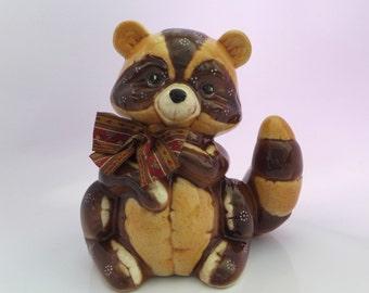 Large Raccoon Figure, Brown Ceramic, Vintage Home Decor, Raccoon Figurine, Fabric Bow, MR Ceramics, Woodland Animal, Made in USA