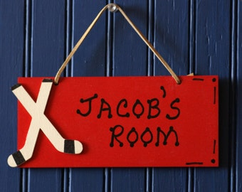 sport room sign hand hockey sign red boyu0027s room decor