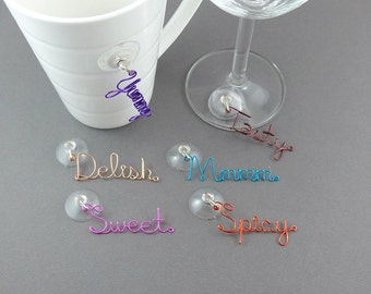 Suction Cup Glass Charm - Stemless Wine Glass Charms - Wire Writing Beverage Glass Markers