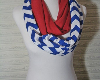 Royal Blue and Red colorblock Chevron Infinity Scarf - Color Block - Red White and Blue Patriotic figure 8 circle Scarf - ChevronScarf