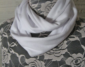 Small solid White Jersey Knit Infinity Scarf - Baby Toddler Kids Childs Photo Prop scarf