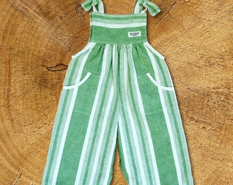 Organic Baby Overalls  Harvest stripes