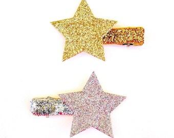 Gold Star Hair Clip | Silver Star Clip | Gold Glitter Star Clip | Glitter Star Hair Clips | Star Hair Clip | Silver Star Hair Clip