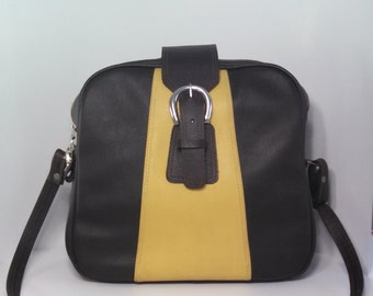 Vintage vinyl shoulder bag/ carryon travel purse bag