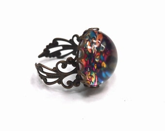 Vintage Ring - Cool Graffiti Dreadlock Bead