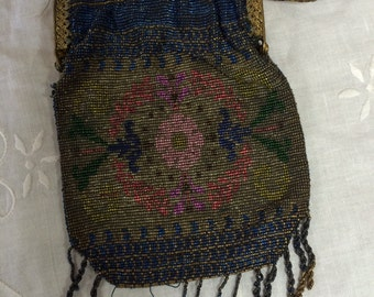 Art Deco Glass Beaded Purse with Floral Design