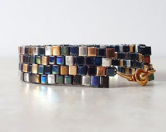 Miyuki cube bracelet/ mixed metal seed bead woven peyote stitch bracelet/ gold, silver, blue, green, hematite, brown seed beads