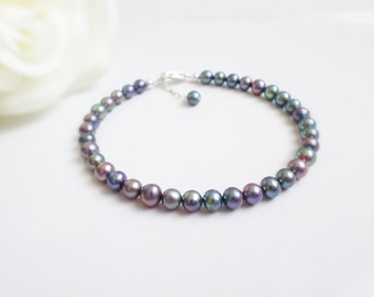 FREE US Shipping Purple Iris Freshwater Pearl Bracelet Single Strand Freshwater Pearl Bracelet Mother Of The Bride Or Groom Gift
