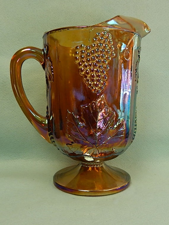 Amber  - Harvest Grape Cluster - Indiana Carvinal Glass  - Pitcher - FREE SHIPPING
