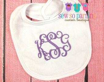 Monogrammed Baby Bib - Baby Girl Monogram Bib - Monogram baby bib - baby gift - Baby Girl Bib - 3 Initials Bib