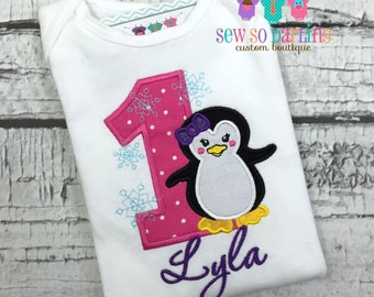 1st Birthday penguin outfit - Birthday penguin Shirt - Personalized Penguin Birthday outfit - Baby Girl Penguin Birthday - Penguin birthday