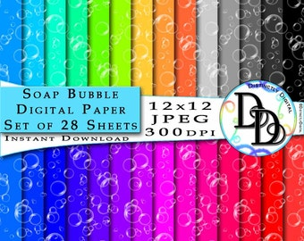 Bubbles Scrapbook Digital Papers Printable Pages Soap Ombre Clipart Limited Commercial Use Clip Art Graphics Instant Download Files PS0012