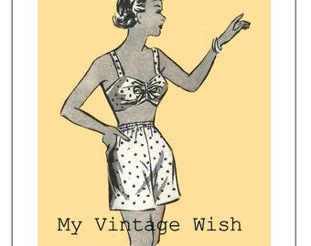 1950s Sunsuit Vintage Sewing Pattern - PDF Instant Download