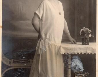 Antique RPPC of Pretty Lady in White Dress