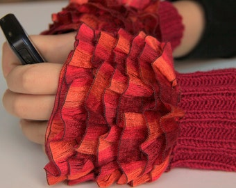 Fingerless Gloves, cozy hand knitted mittens Hand  Knit elegant ruffled red orange gloves, frilly gloves red orange colored ruffle