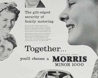 Morris Minor Vintage Car Print 1959, Advertising Wall Art