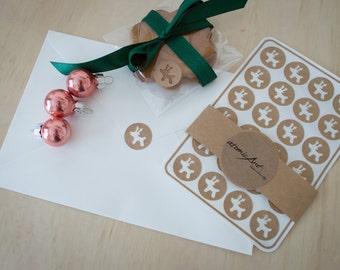 24x Christmas Stickers - Kraft Reindeers  - Handmade Envelope Seals - Gift Wrapping & Decorations - Scrapbooking - Stocking Filler